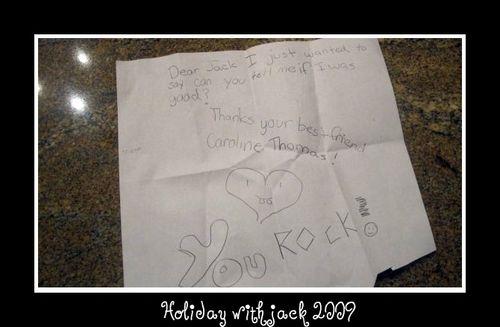 Caroline's note to jack
